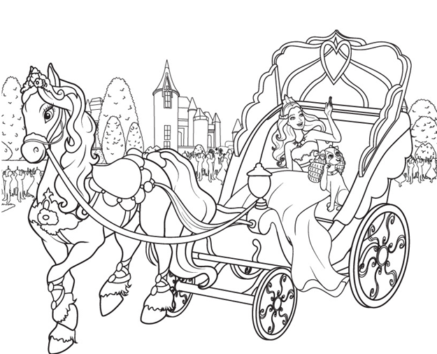 Princess Carriage Coloring Page  Kids Coloring Page Gallery