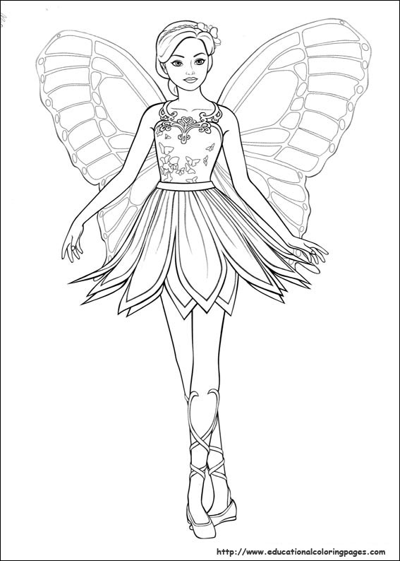 Barbie mariposa coloring page