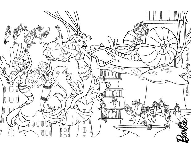 Barbie Swimming Coloring Pages : Barbie coloring pages for girls princess