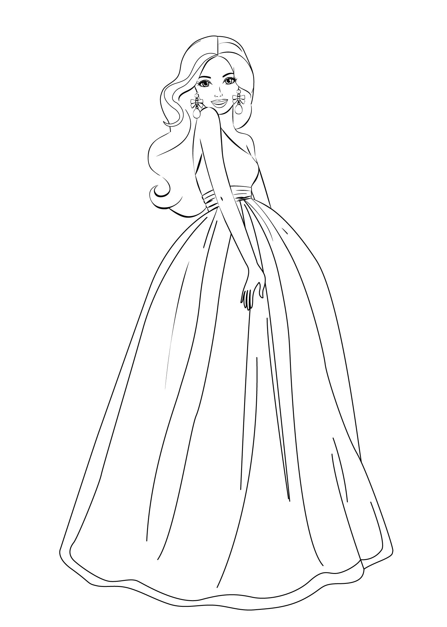 elegant dressed barbie coloring page - Barbie Princess Coloring Pages