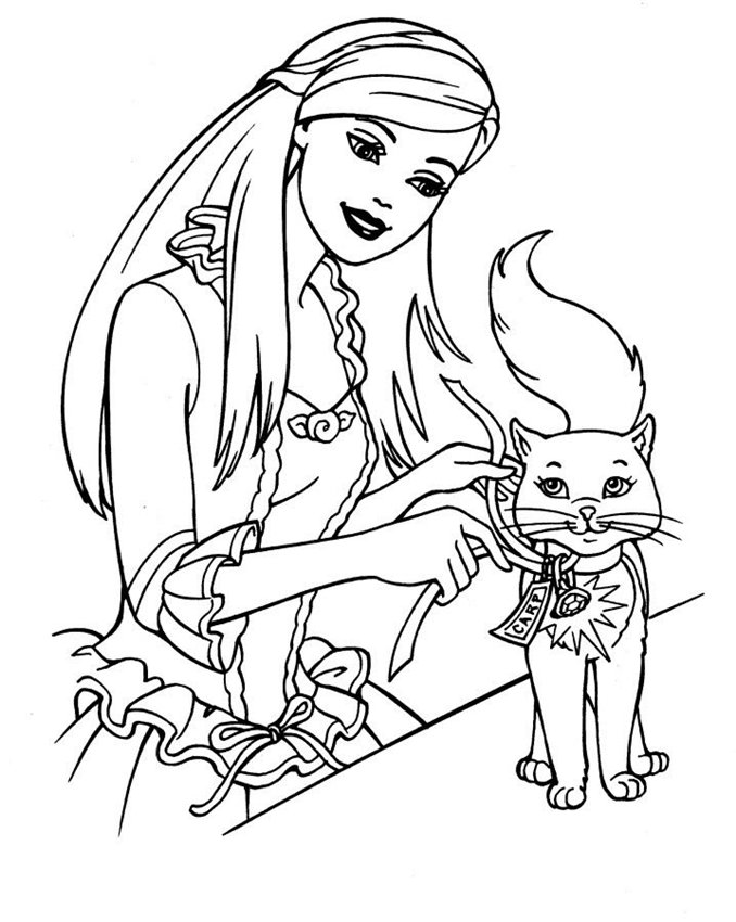 Barbie petting her cat and add her a lovely bell