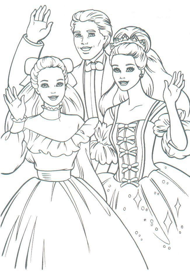 Babrie Princess Get Together Waving Good Bye Barbie Coloring Sheets