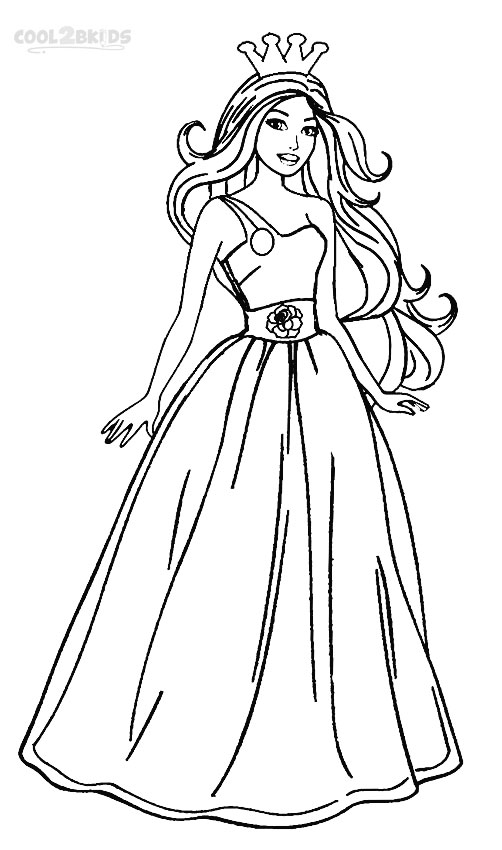 Single strap dress barbie coloring page