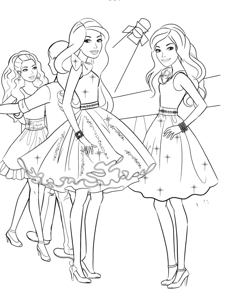 Barbie coloring page with barbie friends