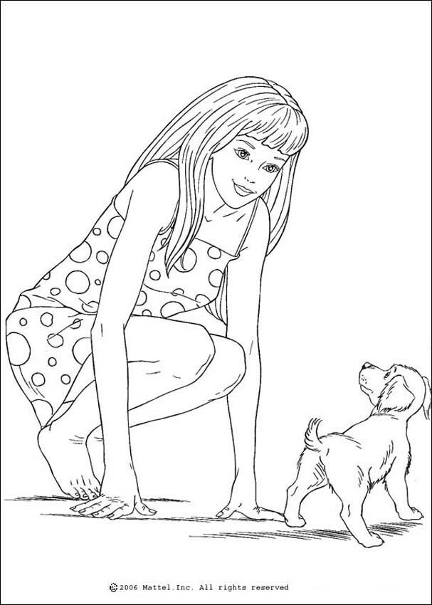 Barbie with polka dots dress playing her pet dog