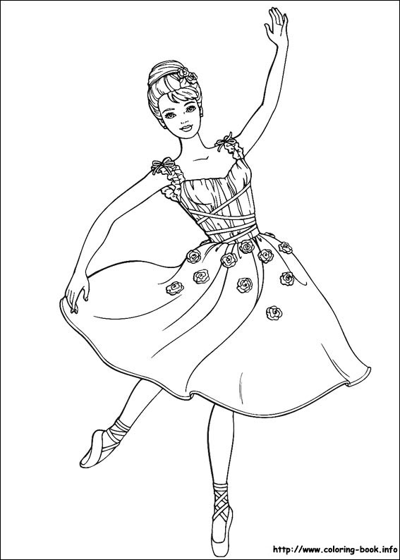 Ballerina Dancing Barbie coloring page
