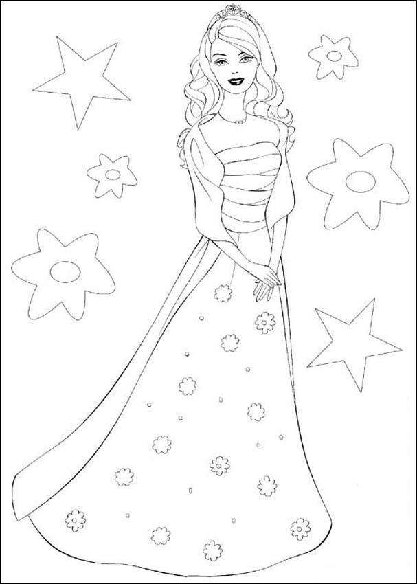 Lets count some stars with barbie coloring page