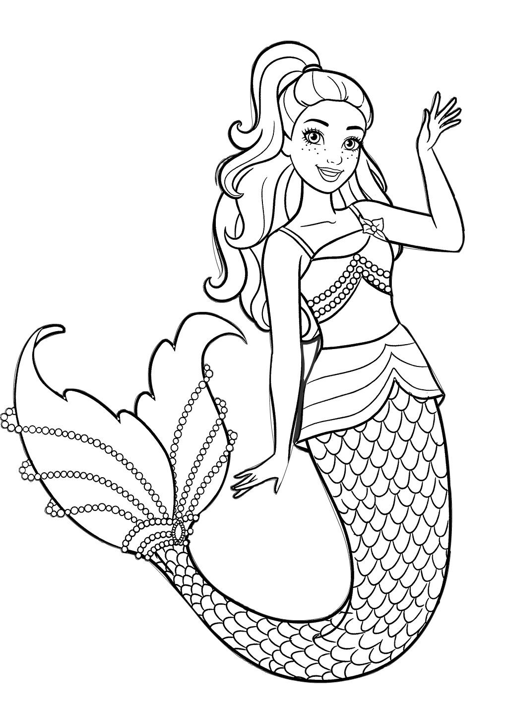 Beautiful Mermaid Barbie Coloring Pages for Girls