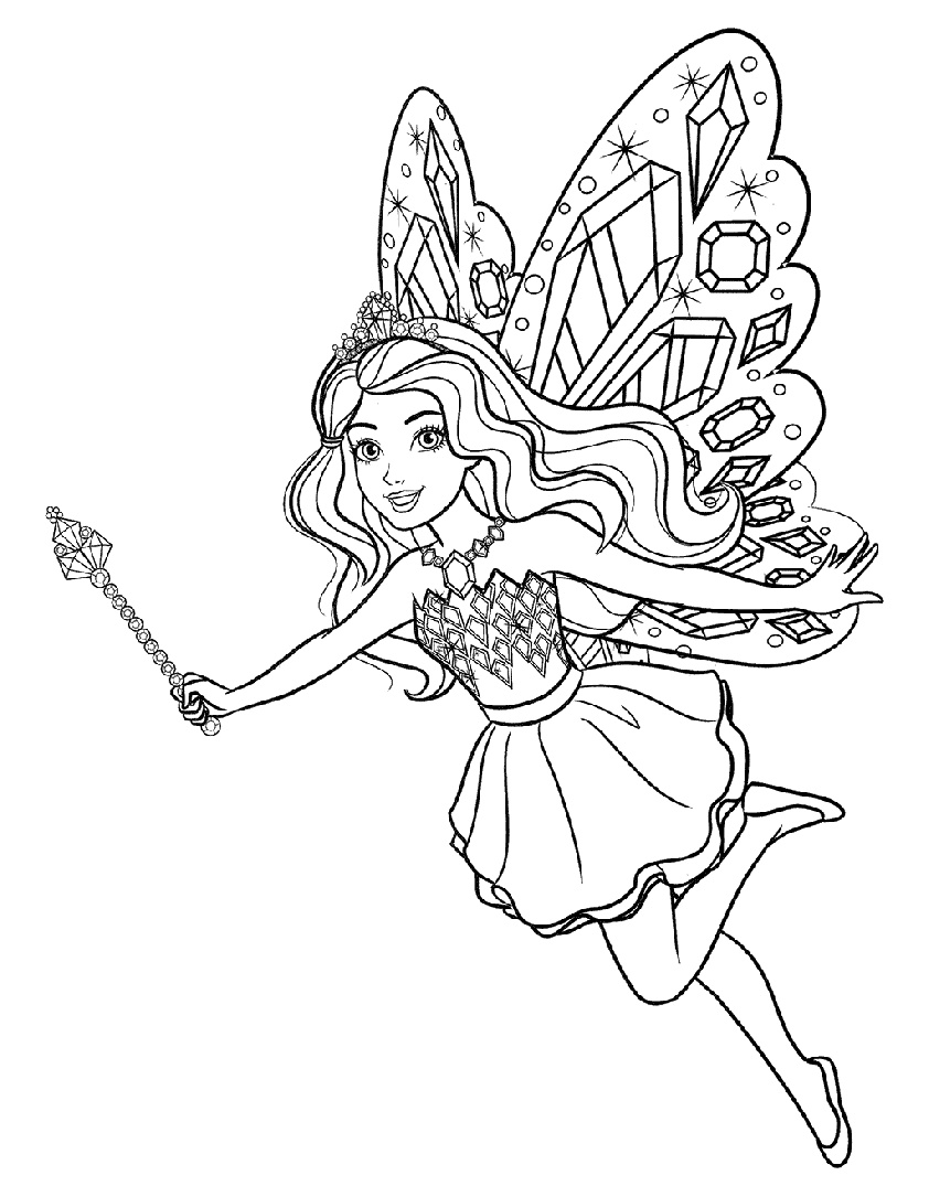Coloring Pages of Beautiful Eyes Fairy Barbie with a Magic Wand