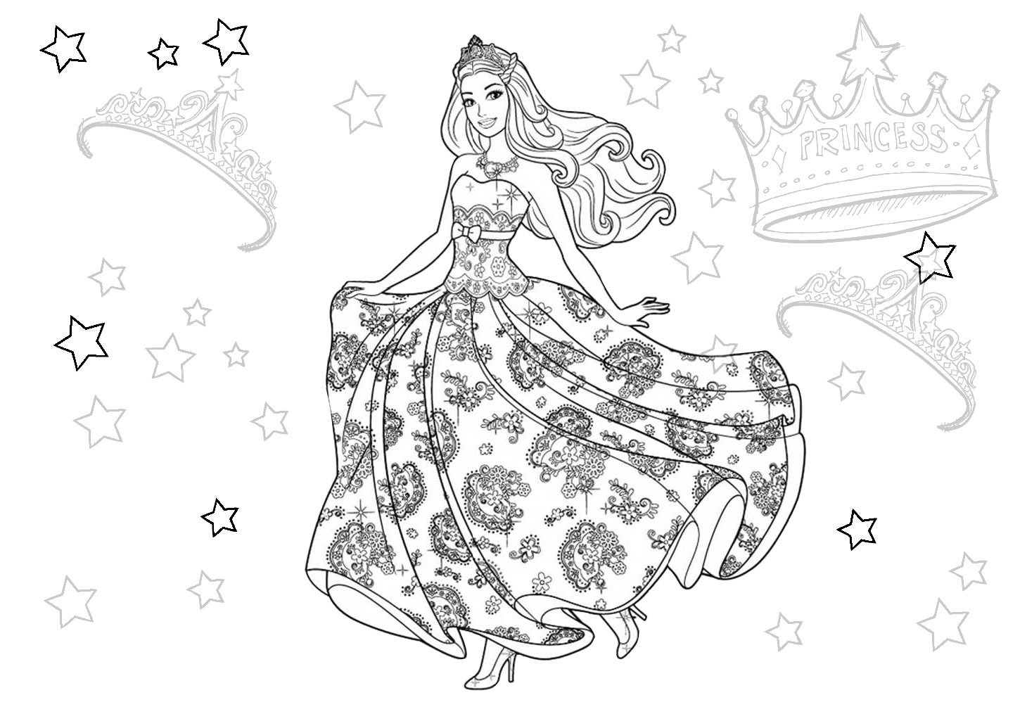 Floral Dress Cute Princess Doll Barbie Coloring Pages