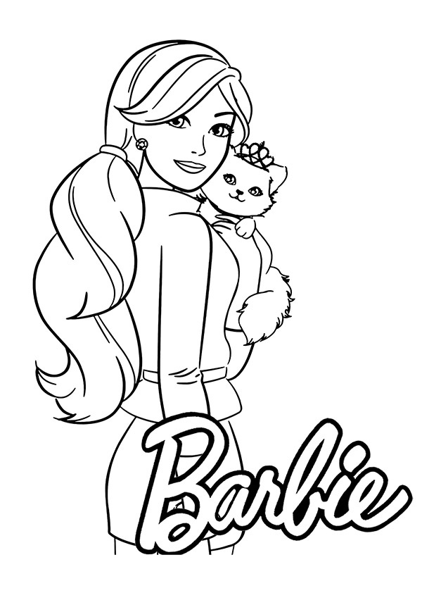 Free Printable Barbie with Kitten Coloring Pages for Kids