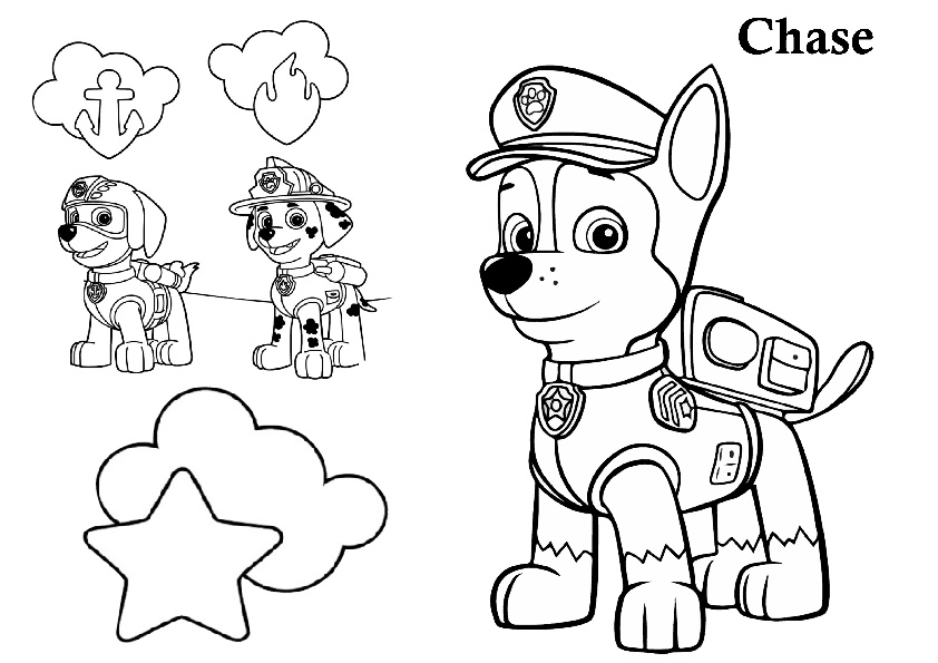 Chase Paw Patrol Pup with Marshall and Zuma Printable Coloring Pages