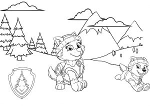 Everest Snow Rescue Puppy Paw Patrol Coloring Pages