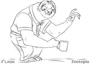 Flash Sloth Zootopia Coloring Pages