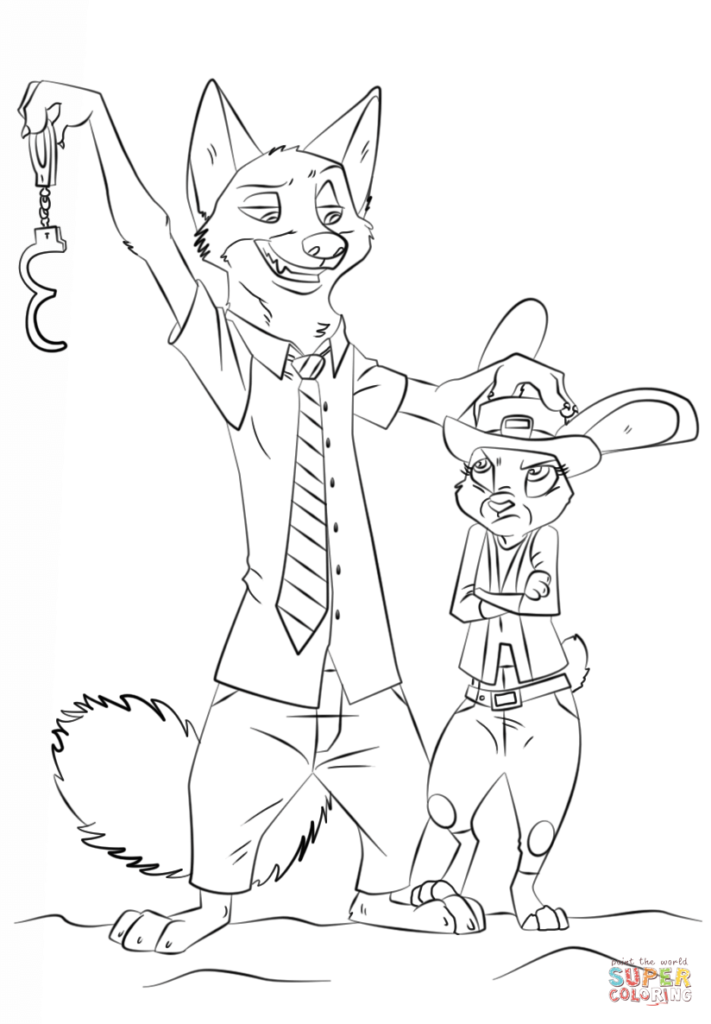 Nick and Judy Zootopia Coloring pages 32