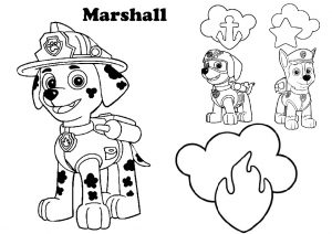 Paw Patrol Marshall Firefighter Pup with Zuma and Chase Coloring Pages for Kids