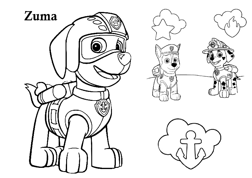 Paw Patrol Zuma with Chase and Marshall Coloring Pages