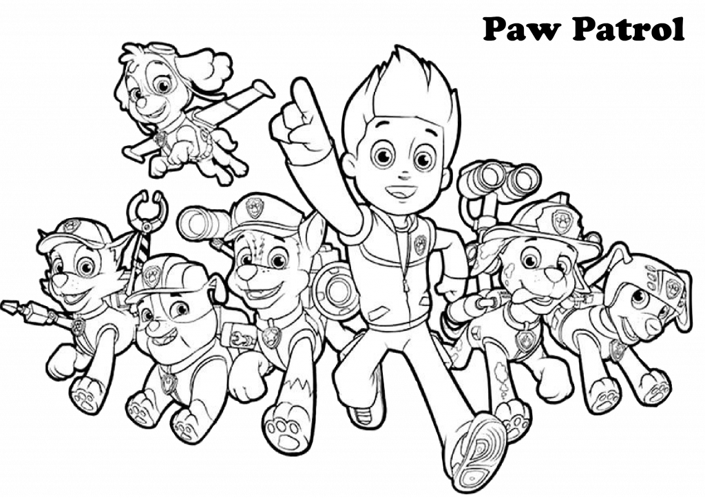Paw patrol Coloring Page All Characters