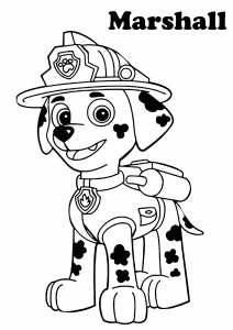 Paw Patrol Coloring Page Marshall