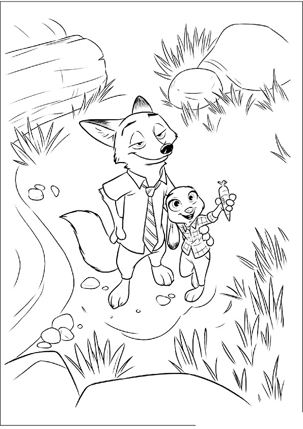 Trap For Bellwether Sheep Nick Wilde Fox and Judy Hopps Carrot Recorder Zootopia Coloring Pages