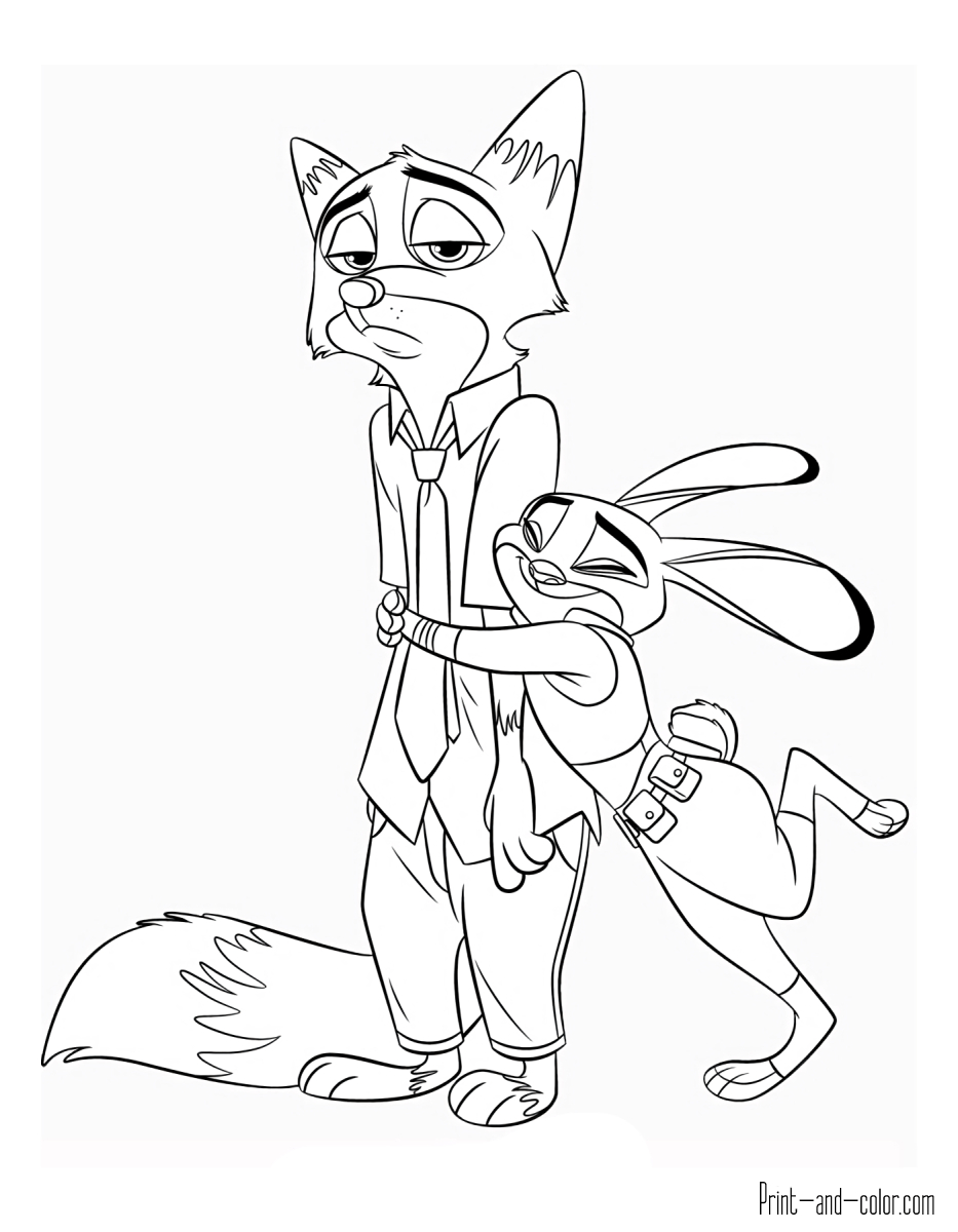 Zootopia Print Coloring Pages 19 Print Color Craft