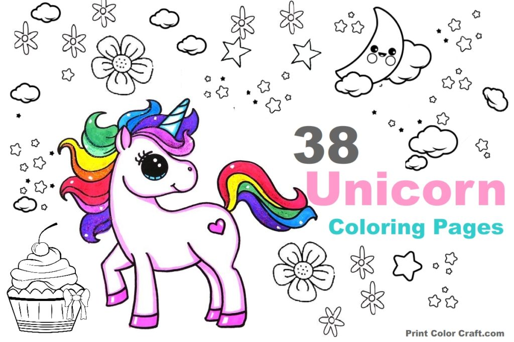 48 Adorable Unicorn Coloring Pages for Girls and Adults