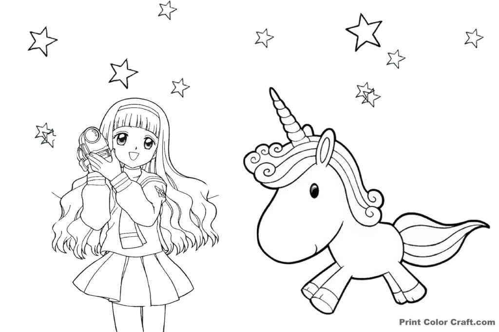 Anime girl with Unicorn