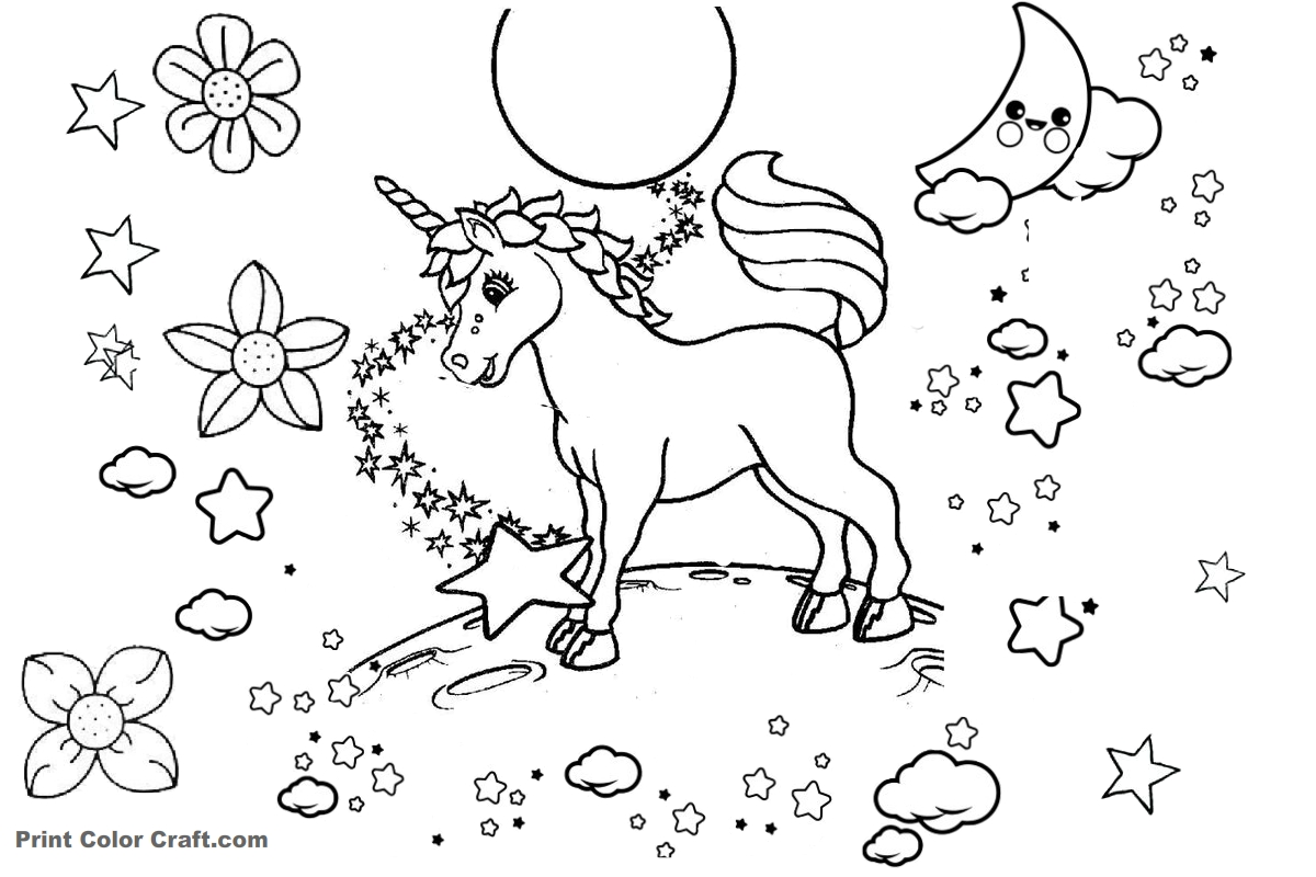 Baby Unicorn Coloring pages - Print Color Craft