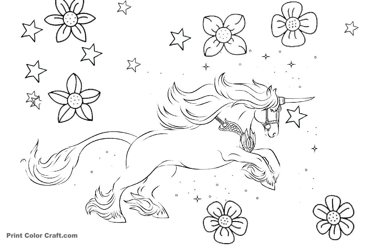 beautiful unicorn coloring pages - photo#25