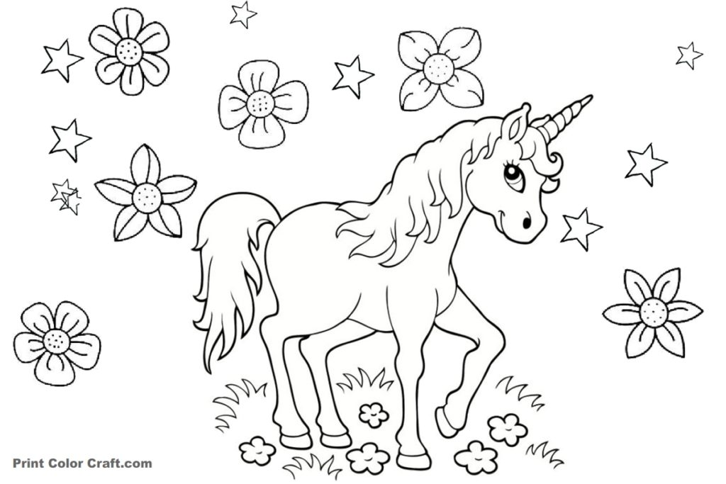 Beautiful horned animal Unicorn Printable Coloring Pages ...