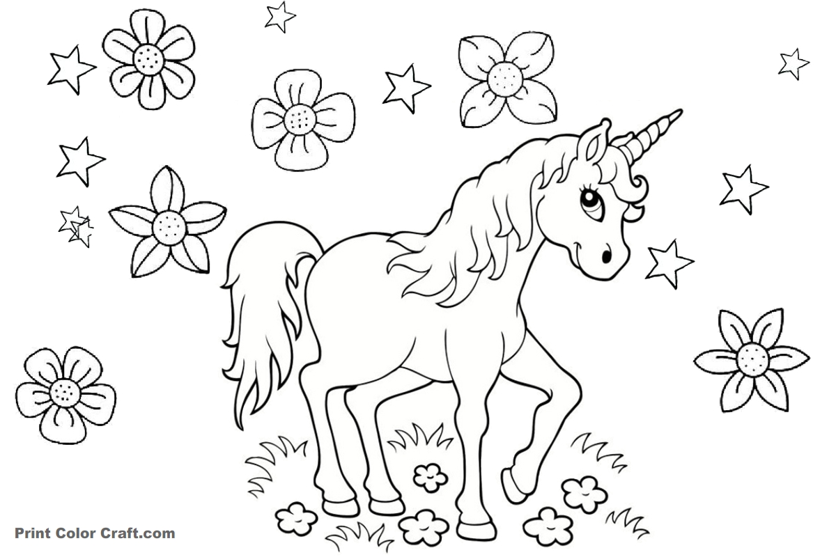 Beautiful horned animal unicorn printable coloring pages for kids