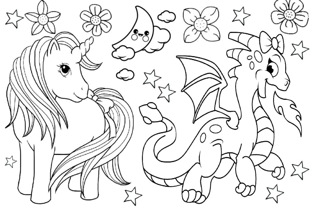 Cute Friends Unicorn and Dragon Coloring Pages No Fighting