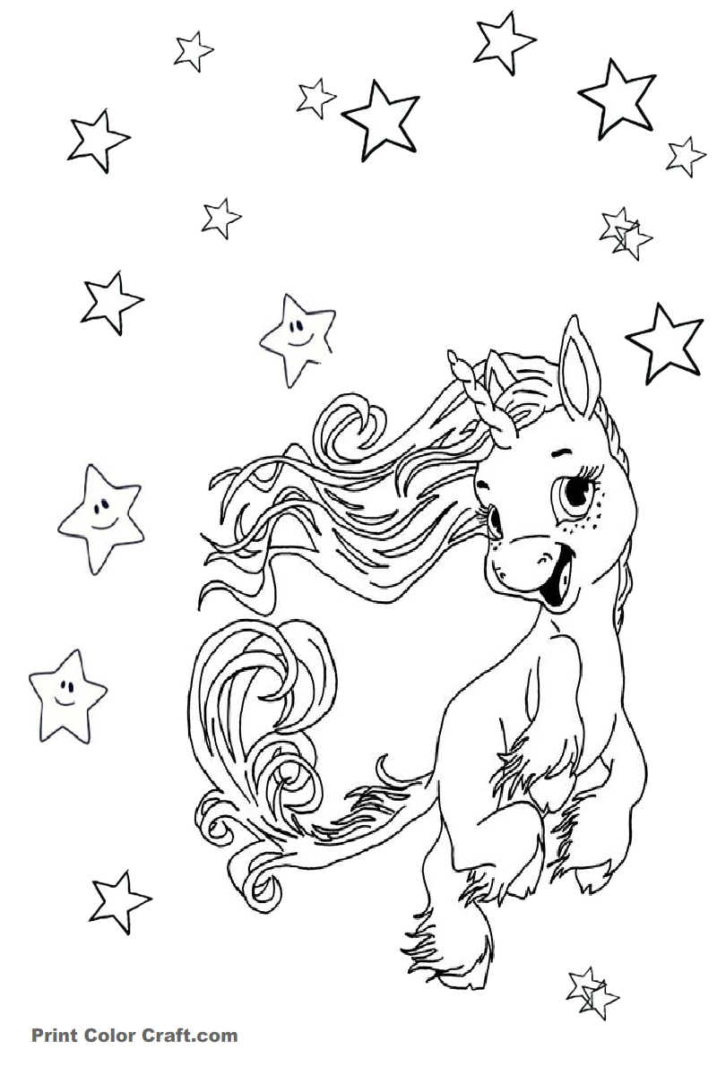 Excited Baby Unicorn Coloring Pages