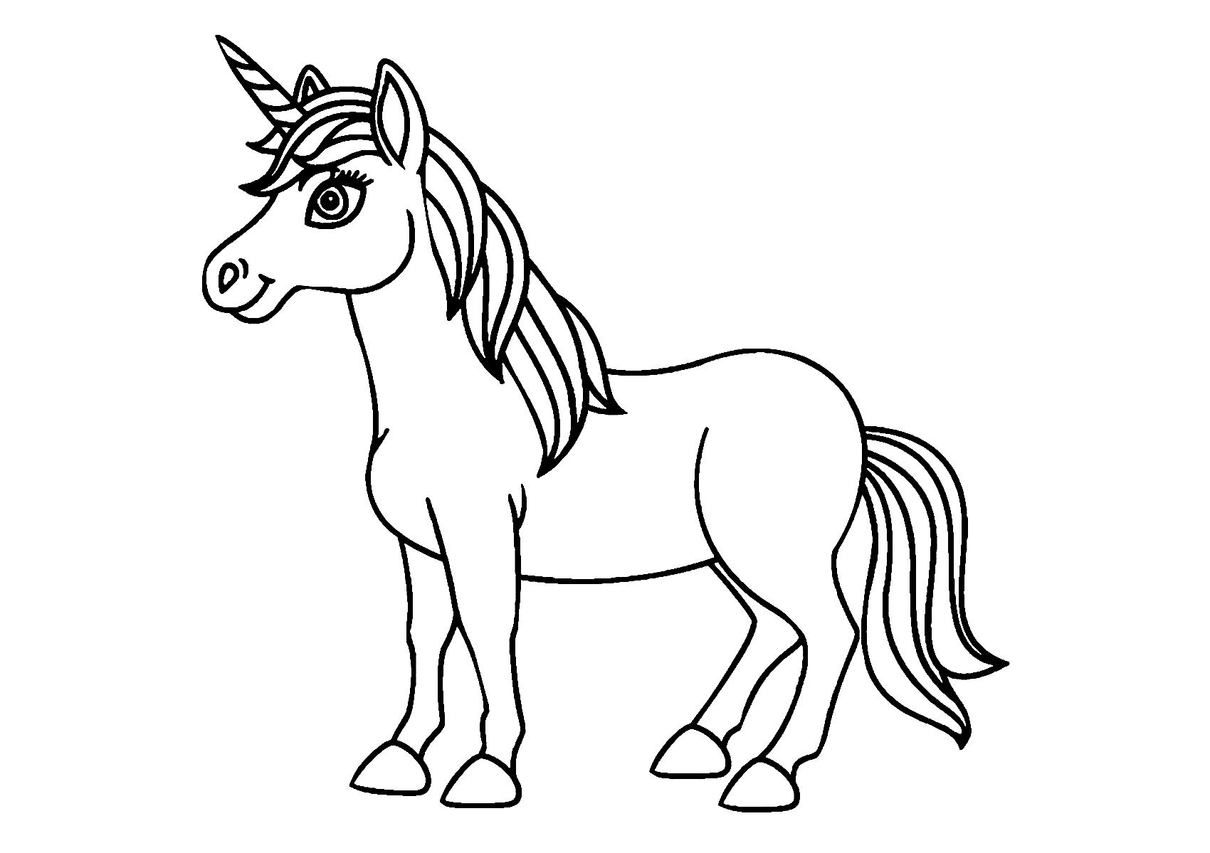 Easy Preschool Unicorn Coloring Page for Kids