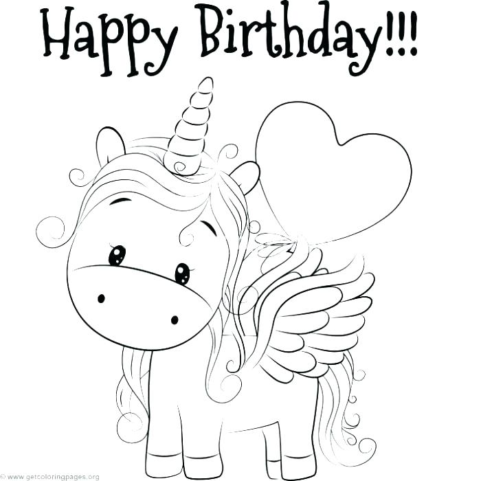 Happy Birthday Unicorn Coloring Page Print Color Craft