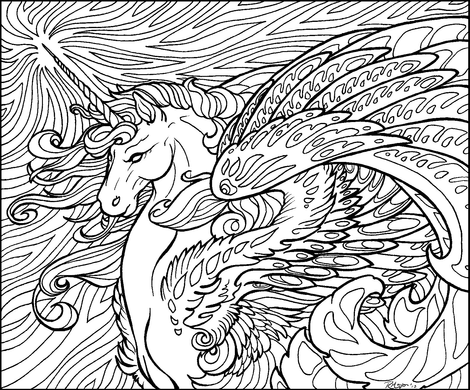 Last unicorn hard coloring mythical one horned creature unicorn coloring pages
