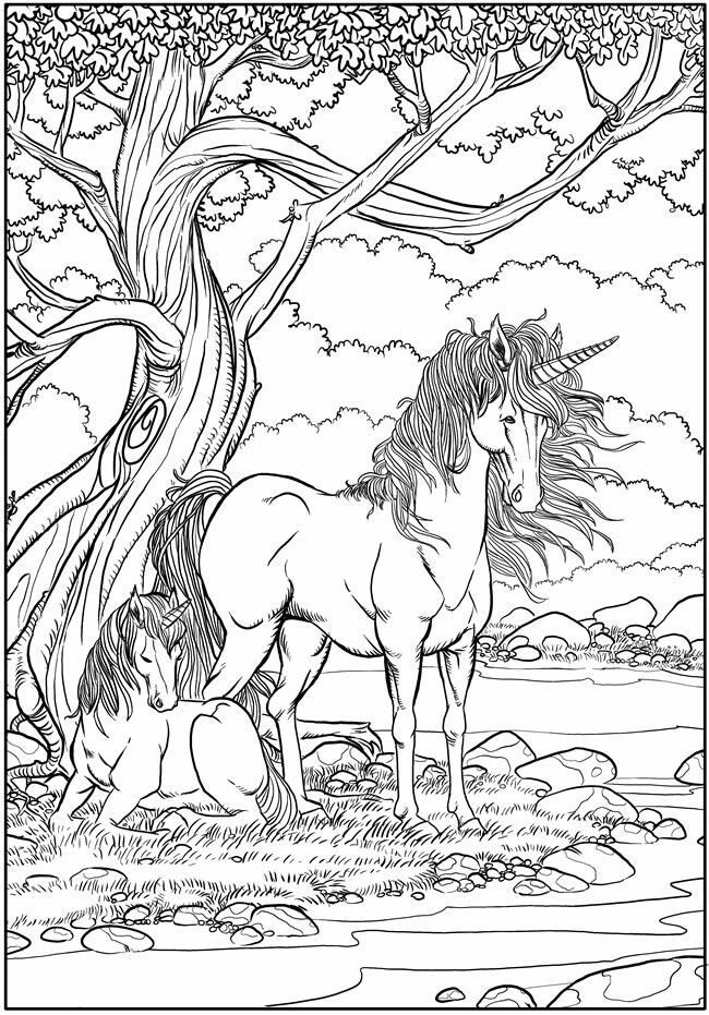 Mythical Creatures Unicorn Realistic Unicorn Coloring Page fabled beast