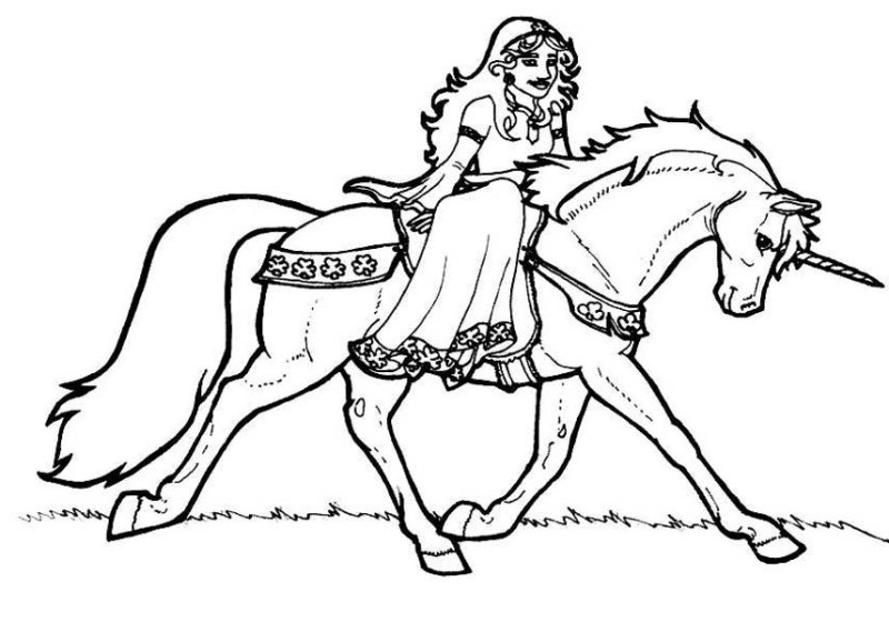 Princess Rising Fantasy Unicorn Coloring Pages Print Color Craft
