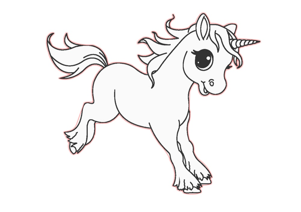 Print and Color Happy Little Unicorn Coloring Page