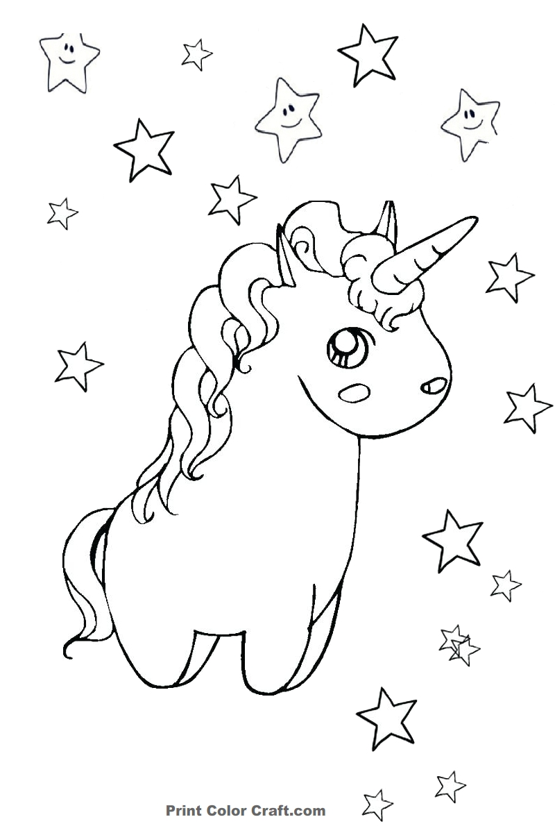 Printable Cute and Chubby Unicorn Coloring Sheet - Print Color Craft