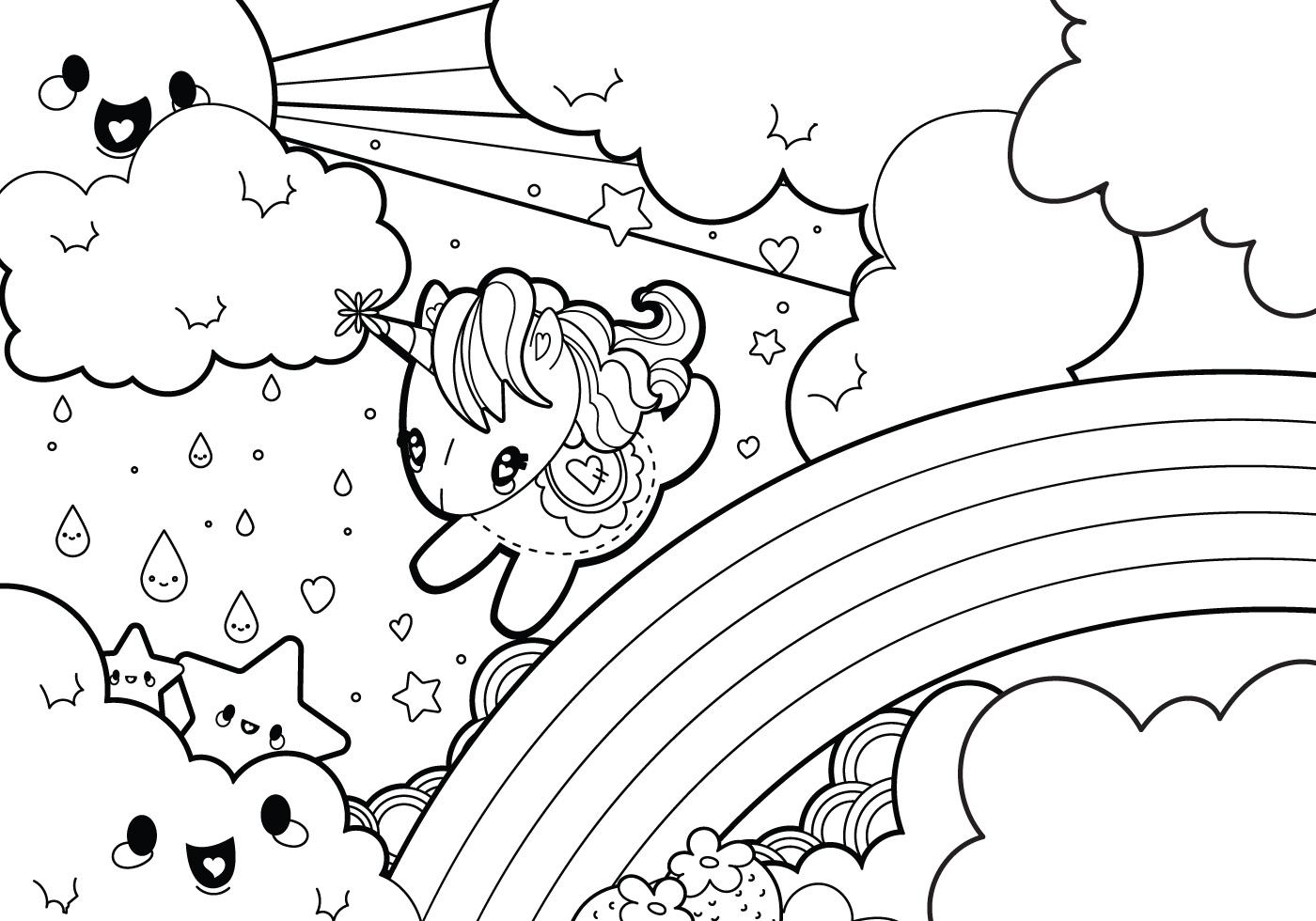 Rain rainbow unicorn coloring page
