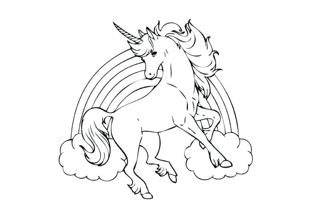 Rainbow Unicorn Coloring Pages Flying
