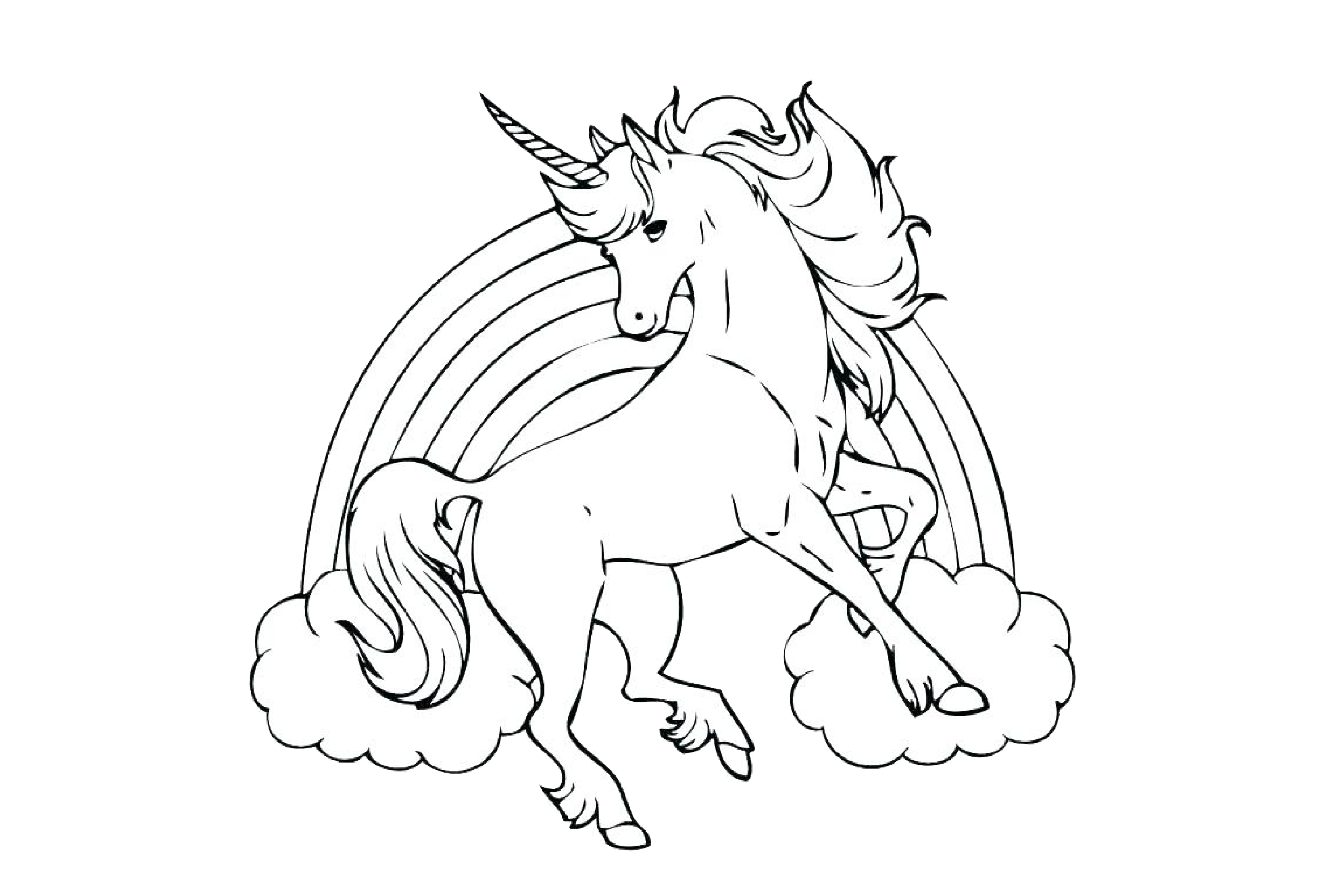 Rainbow Unicorn Coloring Pages Flying - Print Color Craft