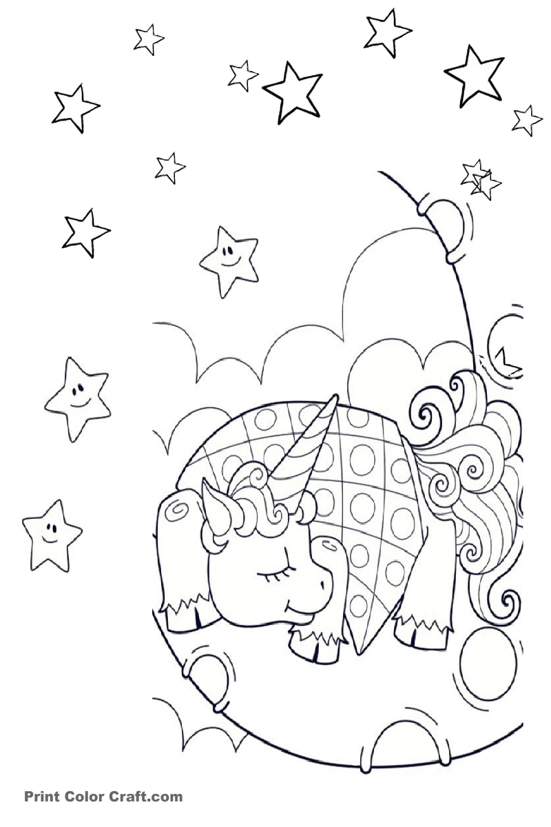 Sleeping Unicorn Coloring pages