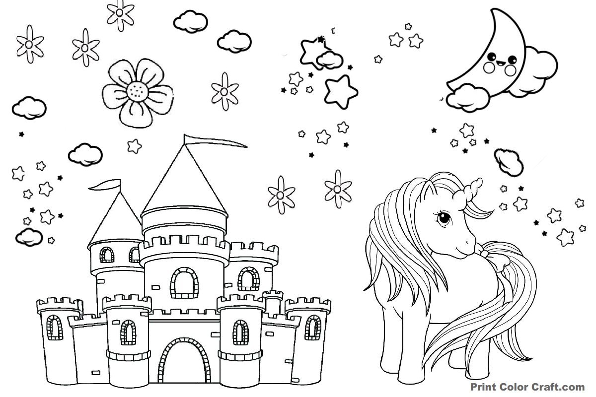 photo relating to Castle Printable titled Unicorn with castle Printable Coloring Site - Print Shade Craft