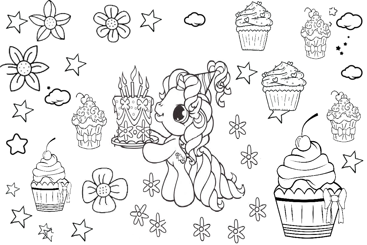 Unicorn coloring pages unicorn birthday cake printable image
