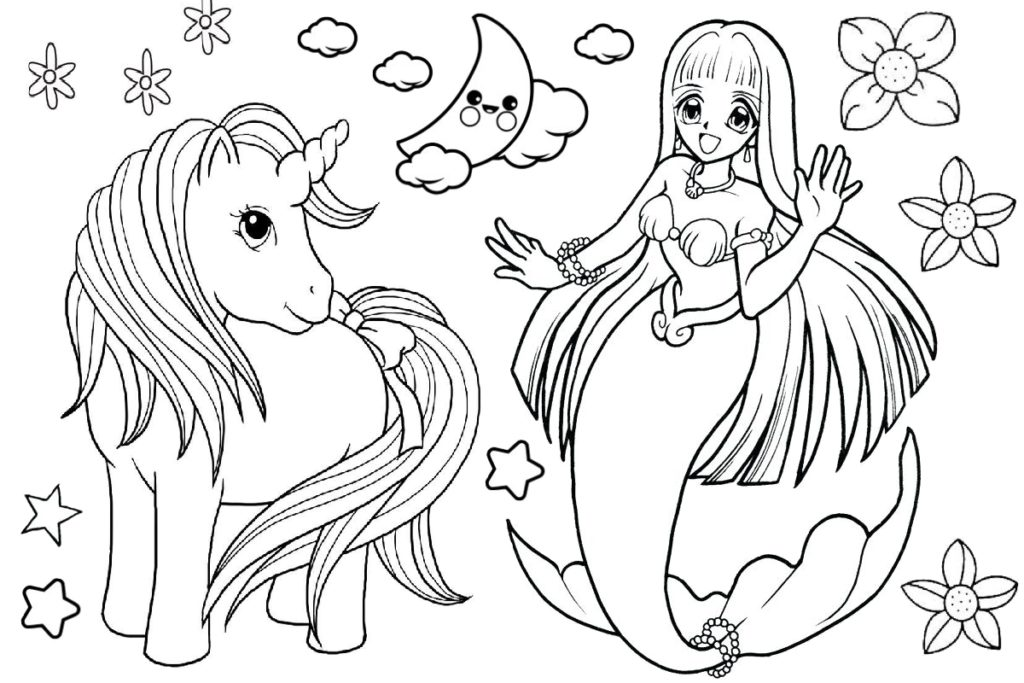 Unicorn and Mermaid Coloring Page