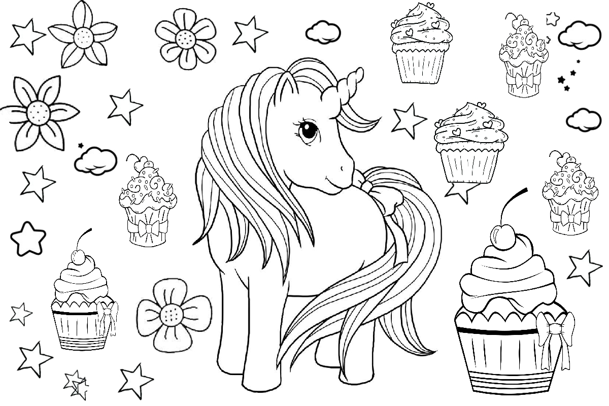 Unicorn and cupcake coloring page