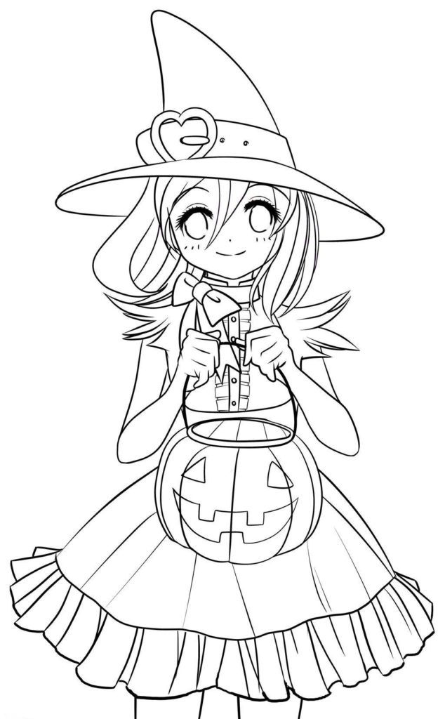 Adorable Girly Cute Anime Halloween Coloring Page
