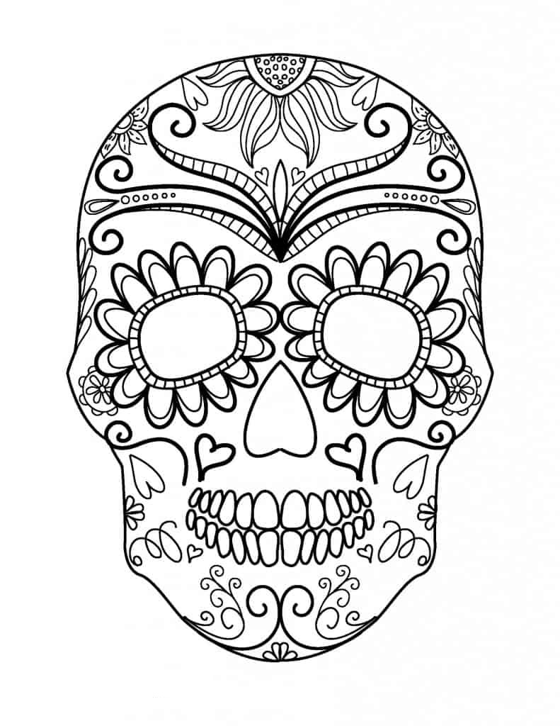 Adult Halloween Sugar Skull Coloring Page